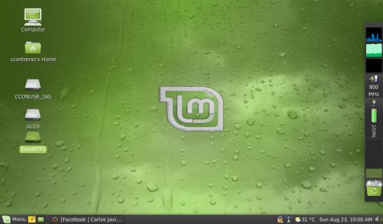 20090823 Screenshot de escritorio AAO150 con LinuxMint 7 Gloria